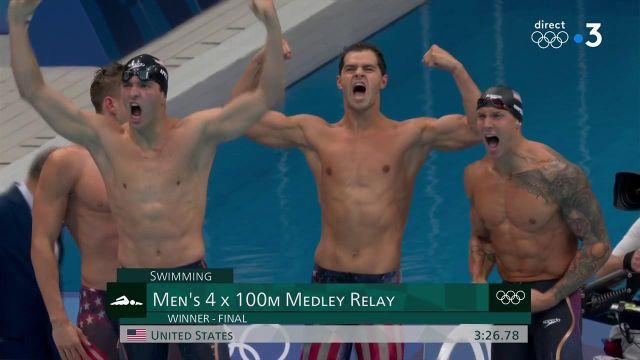 Quel exploit pour la bande menée par Caeleb Dressel qui remporte le 4x100 m 4 nages haut la main avec un nouveau record du monde (3.26.78). Revivez l'intégralité de cette course historique.