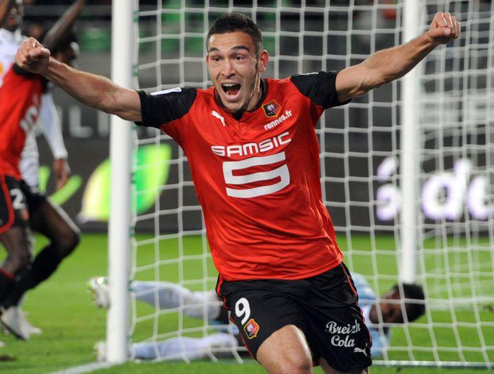 L'attaquant de Rennes Mevlut Erding célèbre l'unique but de son équipe contre Reims, le 3 novembre 2012. (JEAN-FRANCOIS MONIER / AFP)