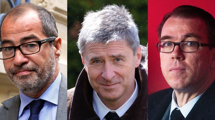 Philippe Blanchetier (à g.),Philippe Briand (au centre) etGuillaume Lambert (à droite) sont poursuivis pour usage de faux, escroquerie, recel d'abus de confiance et complicité de financement illégal de campagne électorale. (MIGUEL MEDINA / AFP)