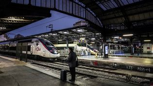 Un passager attend son train à la gare de l'Est à Paris, le 13 décembre 2019. (MARTIN BUREAU / AFP)