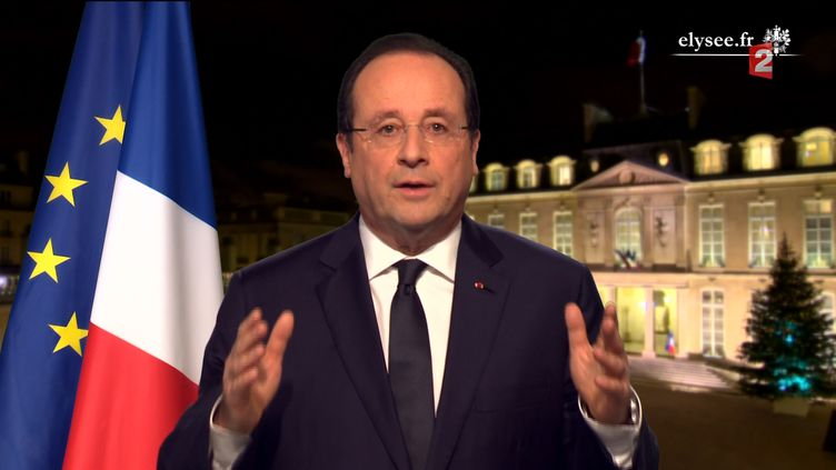 Les vœux de François Hollande, depuis le palais de l'Elysée, à Paris, le 31 décembre 2013. ( FRANCE 2)