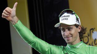 Le coureur slovaque de l'équipe Tinkoff-Saxo, Peter Sagan, sur le podium de la 16e étape du Tour de France 2015, à Gap, qu'il a terminée à la deuxième place. ( BENOIT TESSIER / REUTERS )
