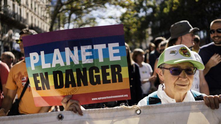 Lors de lamarche pour le climat, à Paris, samedi 8 septembre 2018. (DENIS MEYER / HANS LUCAS / AFP)