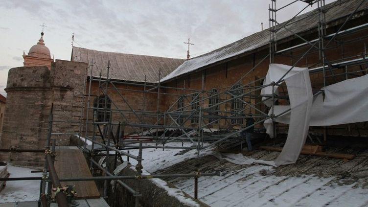 Restauration du toit de la la basilique de la Nativité à Bethléem.  (MUSA AL-SHAER / AFP)