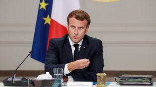 Emmanuel Macron à l'Elysée, à Paris, le 24 juin 2020. (LUDOVIC MARIN / AFP)