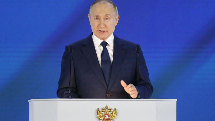 Vladimir Poutine, le président russe,prononce son discours annuel à la nation, à Moscou, le mercredi 21 avril 2021. (ALEXANDER ZEMLIANICHENKO / POOL)