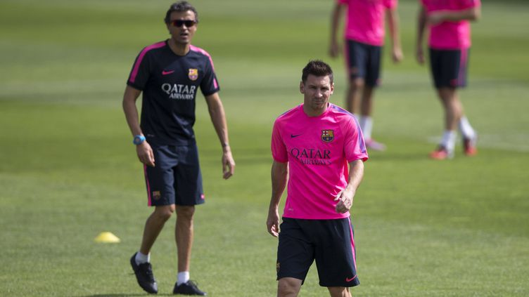 Luis Enrique, l'entraîneur du Barça, et Lionel Messi. (EFE/SIPA)