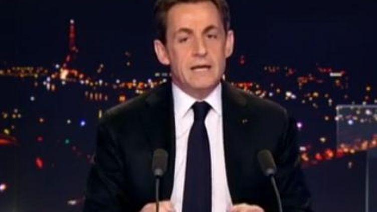 Nicolas Sarkozy sur le plateau de TF1 -mercredi 15 février 2012 (TF1)
