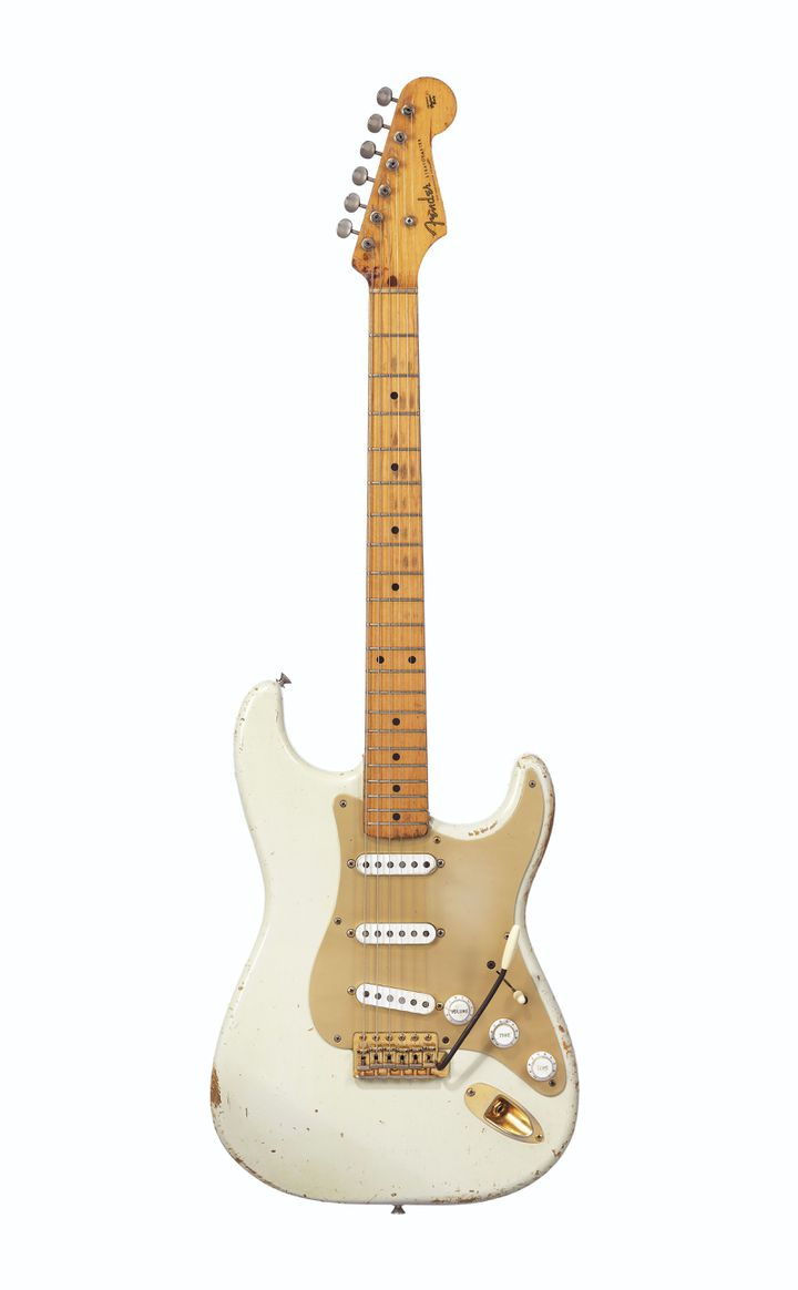 FENDER ELECTRIC INSTRUMENT COMPANY, FULLERTON, CIRCA 1954 AND LATER A SOLID-BODY ELECTRIC GUITAR, STRATOCASTER, BEARING THE SERIAL NUMBER 0001 (CHRISTIE'S - THE DAVID GILMOUR GUITAR COLLECTION)