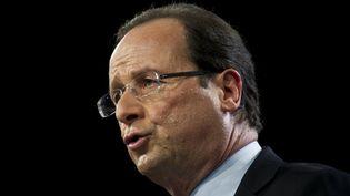 François Hollande à son meeting du Bourget le dimanche 22 janvier 2012. (FRED DUFOUR / AFP)