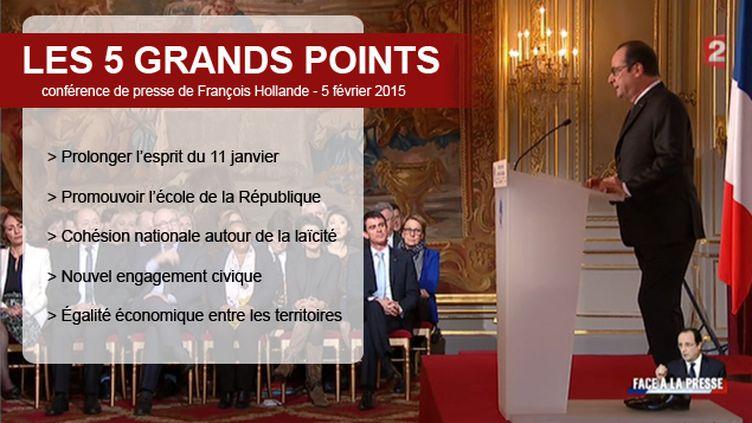 (Les 5 points de la conférence de presse de François Hollande - 5 février 2015 © Capture écran France 2)