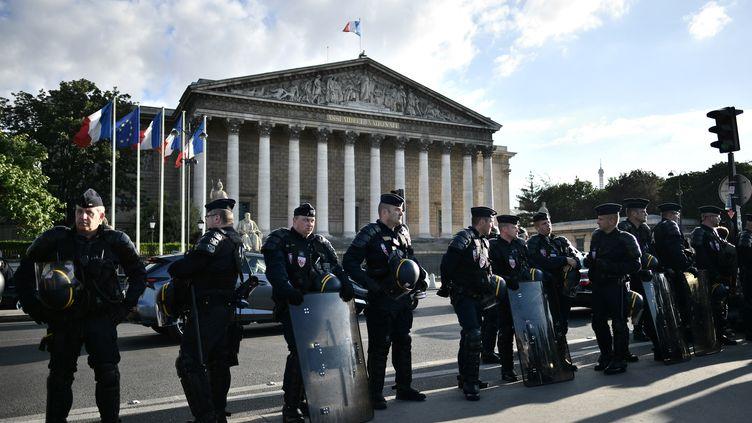 Des CRS devant l'Assemblée nationale, le 5 juillet 2016 à Paris, lors d'une manifestation du mouvement Nuit debout. (PHILIPPE LOPEZ / AFP)