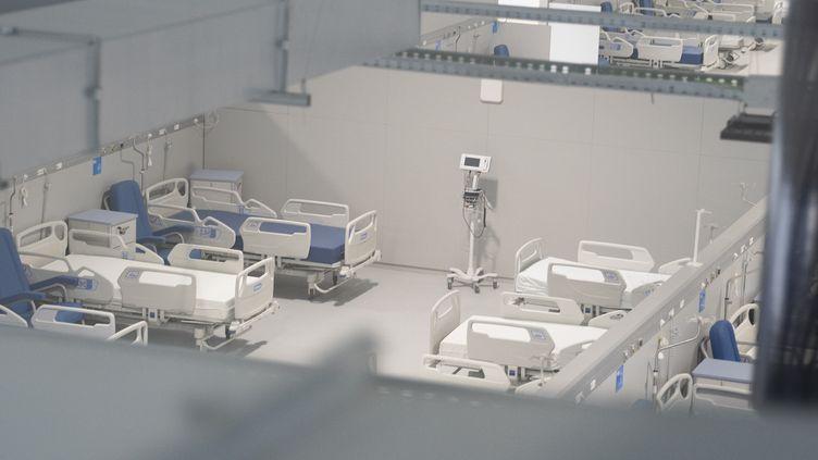 Vue de l'intérieur de l'hôpital Isabel Zendal de Madrid (Espagne), inauguré le mardi 1er décembre 2020. (OSCAR GONZALEZ / NURPHOTO)