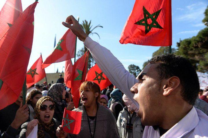 Manifestation de Marocains devant l'ambassade de France à Rabat, le 25 février 2014 (Fadel Senna/Afp)