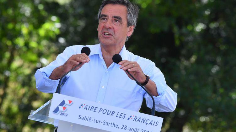 François Fillon, le 28 août 2016 à Sablé-Sur-Sarthe (Sarthe). (FRANCOIS PAULETTO / CITIZENSIDE / AFP)