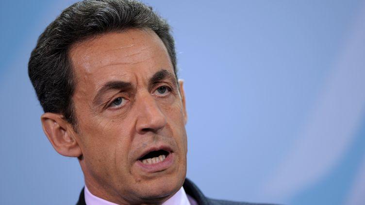 Nicolas Sarkozy lors d'une conférence de presse à Berlin, le 9 janvier 2012. (JOHANNES EISELE /AFP)