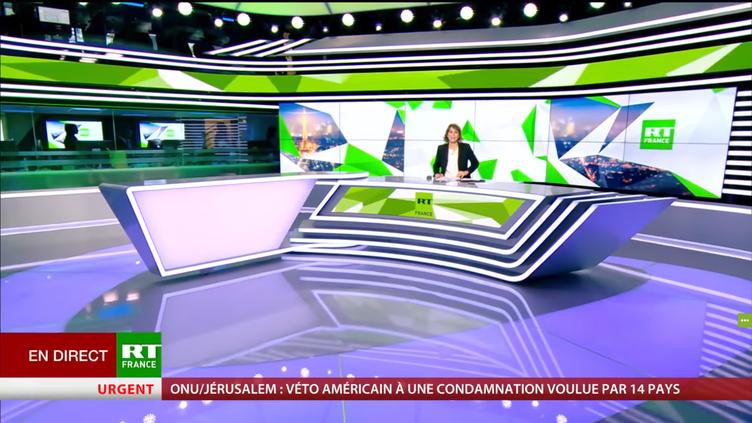 Le premier journal télévisé de RT France, présenté par Stéphanie de Muru, le 18 décembre 2017 (capture d'écran). (RT FRANCE)