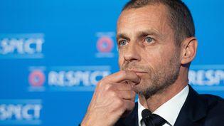 Le président de l'UEFA,Aleksander Ceferin, le 19 avril 2021. (RICHARD JUILLIART / UEFA / AFP)