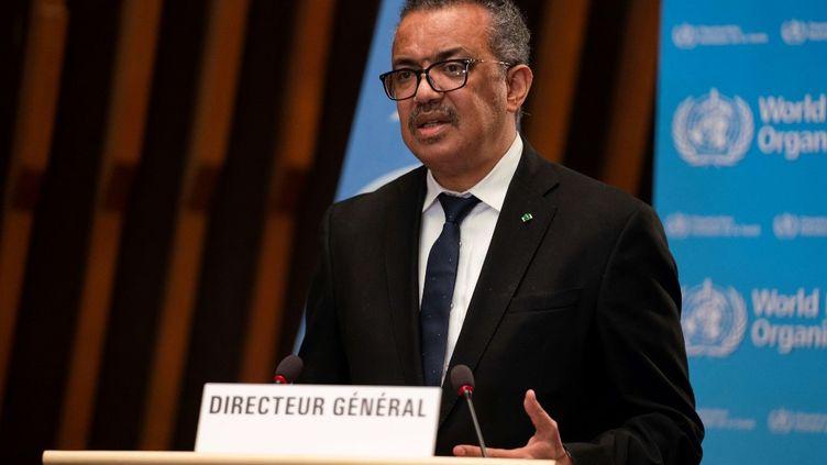 Le directeur général de l'OMS, Tedros Adhanom Ghebreyesus, lors de l'ouverture de la 148e session du Conseil exécutif de l'OMS à Genève (Suisse), le 18 janvier 2021. (CHRISTOPHER BLACK / WORLD HEALTH ORGANIZATION / AFP)