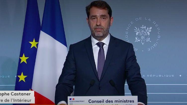 Le ministre de l'Intérieur Christophe Castaner, à l'issue du Conseil des ministres, le 27 mai 2020. (FRANCEINFO)