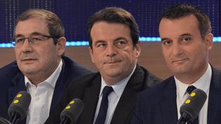 De gauche à droite, Pascal Cherki (PS), Thierry Solère (LR) et Florian Philippot (FN), invités de franceinfo vendredi 2 décembre (FRANCEINFO)