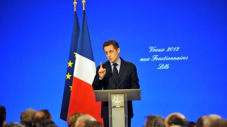 Nicolas Sarkozy lors de ses voeux aux fonctionnaires, le 12 janvier 2012 à Lille (Nord). (PHILIPPE HUGUEN / AFP)