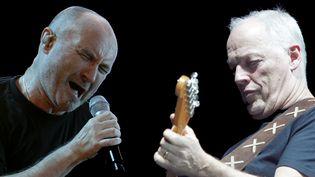 Phil Collins de Genesis et David Gilmour de Pink Floyd (montage). (MAURIZIO GAMBARINI / DPA / AFP - PIERRE ANDRIEU / AFP)