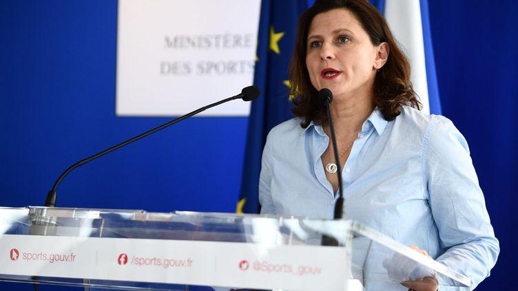 La ministre des Sports Roxana Maracineanu lors d'une conférence de presse, le 9 mars 2020. (MARTIN BUREAU / AFP)
