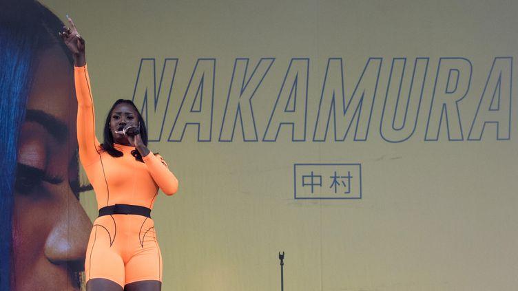 Aya Nakamura sur la scène du festival Les Vieilles Charrues, le 18 juillet 2019. (LOIC VENANCE / AFP)