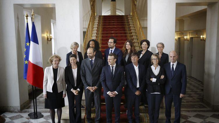 Photo de famille du gouvernement d'Edouard Philippe, le 18 mai 2017 à l'Elysée. (MAXPPP)
