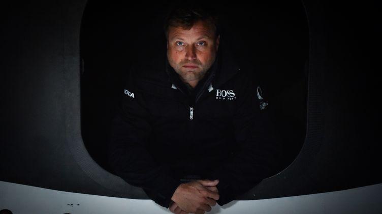 Le skipper gallois Alex Thomson (Hugo Boss) (LOIC VENANCE / AFP)