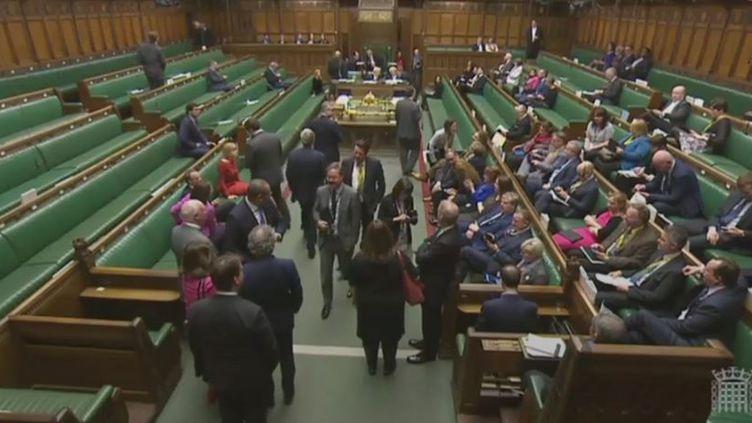 Un groupe de députés écossais SNP sifflent l'air l'Hymne à la joie dès l'arrivée des députés à la Chambre des communes à Londres, lors du vote du Brexit, le 8 février 2017 (REUTERS)
