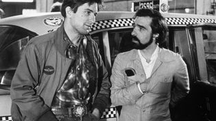 """Robert de Niro et Martin Scorsese (à droite), le 15 juin 1976 sur le plateau de """"Taxi Driver"""". (SNAP / REX FEATURES / REX / SIPA)"""