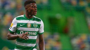 Nuno Mendes sous les couleurs du Sporting, le 21 août 2021. (VALTER GOUVEIA / AFP)