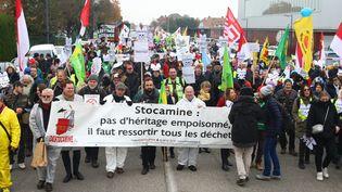 Mobilisation dans les rues de Wittelsheim (Haut-Rhin) le23 novembre 2019 pour réclamer le déstockage définitif de Stocamine. (VINCENT VOEGTLIN / MAXPPP)