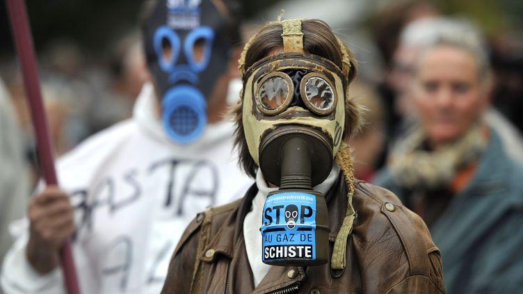 Un manifestant contre l'exploitation des gaz de schiste, à Barjac (Gard), le 23 octobre 2011. (GERARD JULIEN / AFP)