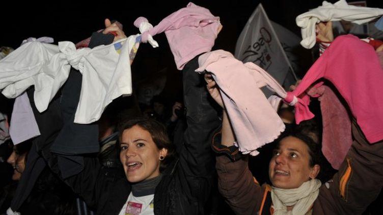 Des manifestants se mobilisent pour le mariage pour tous, devant l'Assemblée nationale, mercredi 7 novembre 2012, à Paris. (MEHDI FEDOUACH / AFP)