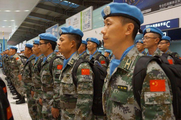 Casques bleus chinois pour le Mali dans le cadre de la Minusma, mission des Nations Unies au Mali. (AFP/ Nang Gongaq/Imaginechina)
