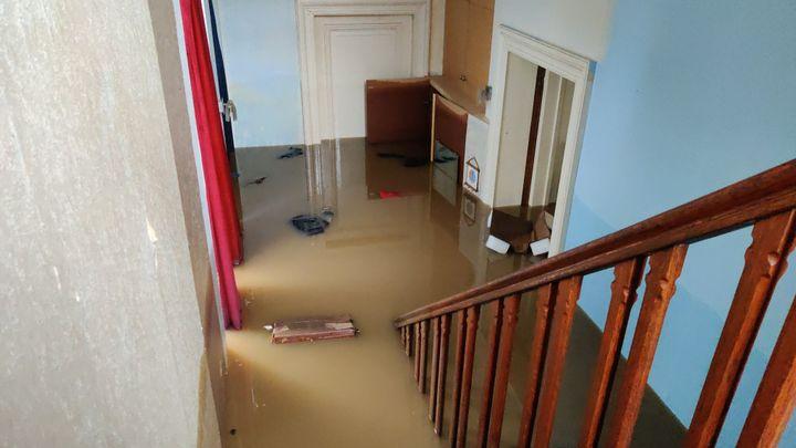 Vue de l'intérieur de la maison deLoïccomplètement inondée. (Loïc Collette)