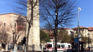 Des ambulances sur la place Sultanahmet à Istanbul (Turquie), le 12 janvier 2016. (ARIF HUDAVERDI YAMAN / ANADOLU AGENCY / AFP)