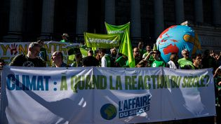Lors d'une manifestation en faveur d'une action sur le climat, à Lyon, le 16 mars 2019. (NICOLAS LIPONNE / NURPHOTO / AFP)