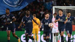 Lionel Messi a égalisé pour le PSG face à Leipzig, mardi 19 octobre. (FRANCK FIFE / AFP)