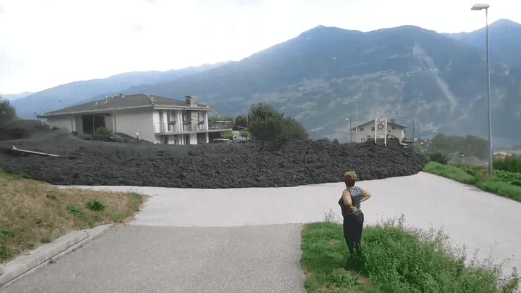 Une lave torrentielle a touché le village suisse de Grugnay, dans la commune de Chamoson (canton du Valais), le7 août 2018. (DR)