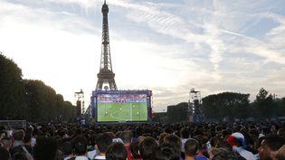 """Des spectateurs dans la """"fan zone"""" du Champ de Mars, à Paris, pendant le match Allemagne-France en demi-finale de l'Euro, le 7 juillet 2016. (REGIS DUVIGNAU / REUTERS)"""