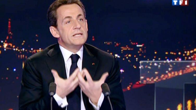 Nicolas Sarkozy sur le plateau de TF1, le 15 février 2012. (TF1 / AFP)