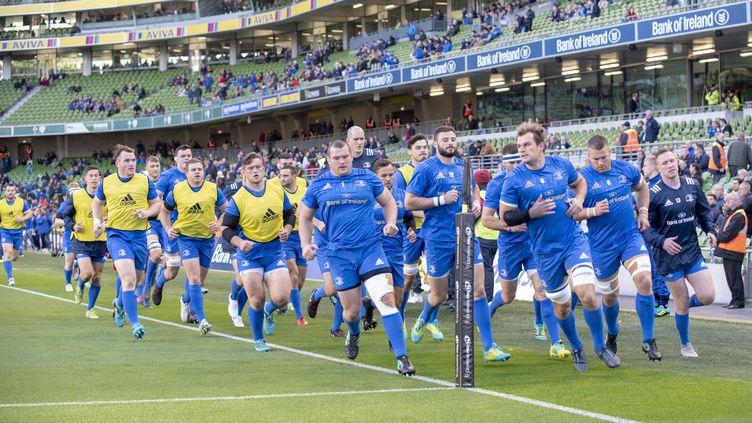 L'équipe du Leinster à l'échauffement en Pro 14. (ANDREW SURMA / NURPHOTO)