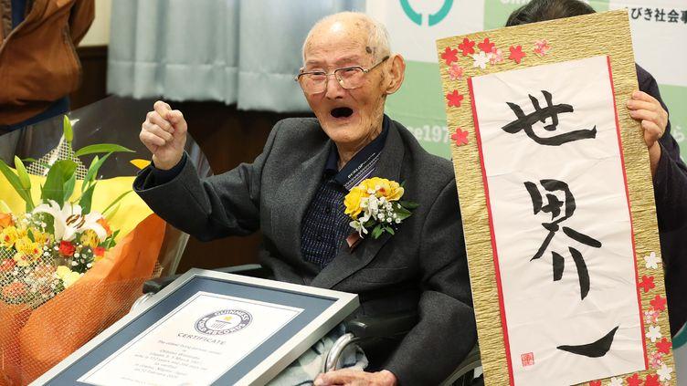 Chichetsu Watanabe, un Japonais de 112 reconnu comme l'homme le plus âgé de la planète, est mort le 23 février 2020 au Japon. (JAPAN POOL / JIJI PRESS / AFP)