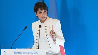Najat Vallaud-Belkacem.lors de sa traditionnelle conférence de presse d'avant-rentrée, Paris, le 29 août 2016. (WITT / SIPA)