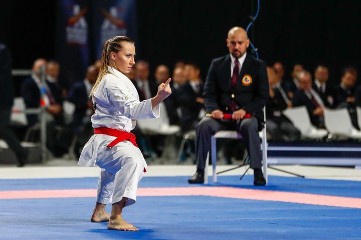 Alexandra Feracci lors des finales des championnats du monde de karaté à Madrid, le 10 novembre 2018. (OSCAR BARROSO / SPAINDPPI / AFP)