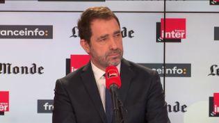 """Christophe Castaner, invitédimanche 10 février 2019 de l'émission """"Questions politiques"""" sur franceinfo, France Inter et Le Monde. (FRANCEINFO)"""